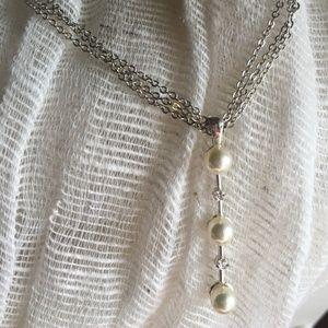Faux Pearl Drop Necklace